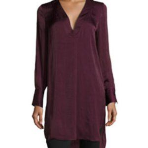 Wine High Slit Long Sleeve Tunic